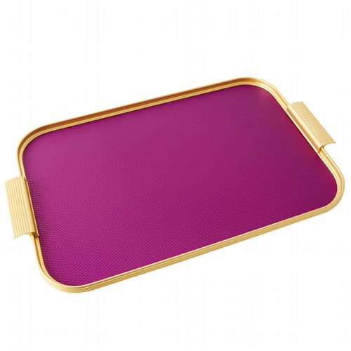 Kaymet Tray - Diamond Ribbed - Magenta & Gold